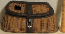 Unique Vintage Wicker Basket Fishing Creel with Leather Trim - Smaller Size