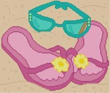 CROSS STITCH+ CRAFT PATTERN Flip Flops Sandals Flower Sunglasses Beach Ocean Sea