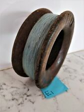 Vintage antique timber wooden fishing hand reel 14.5cm diameter x 5cm deep