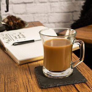LAV ZEN, 6 Clear Tea Coffee Cappucino Latte Glasses Mug Cup 225cc