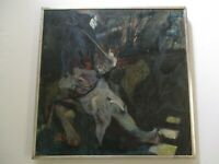 MYSTERY PAINTING ABSTRACT MODERNIST SIGNED  SAMURAI  EXPRESSIONISM EXPRESSIONIST