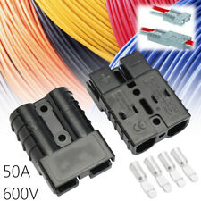 50A 600V 2Pcs Black Anderson Style Plug Connector 50Amp Carvan Charger Battery
