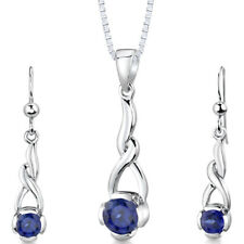2.25 CT Round Blue Sapphire Sterling Silver Earring Pendant Set