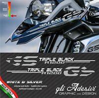 2 Adesivi Becco Parafango Moto BMW R 1200 gs Triple Black LC silver &white
