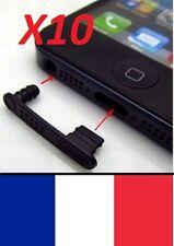 10 Bouchon anti-poussière,Noir,capuchon de protection, Iphone 5, 5S, SE, 6, 6S