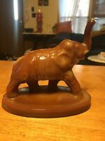 Mosser raised trunk glass elephant figure chocolate slag glass 1982