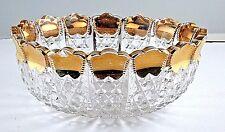 Bowl Gold Flashed Tri Scallop Edge Diamonds Hobstar on Bottom EAPG VTG