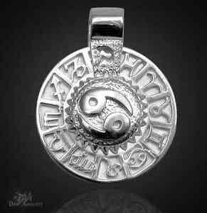 Sternzeichen Krebs - Amulett 925 Sterlingsilber mit Kautschukband!