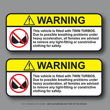 2x Funny Bra Warning Sticker - Car Decal 100mm x 40mm - SKU2769