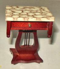 LYRE END TABLE REAL MARBLE TOP DOLLHOUSE FURNITURE MINIATURES