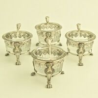 Antique French Sterling Silver Open Salt Cellars 4pc Set w/Spoon Crystal Dish