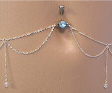 """14g 7/16"""" Aqua Jewel Belly Button Ring with Dangles Belly Chain"""