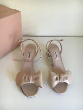 *NEW* Miu Miu Prada 37.5 Bow Beige Patent Leather Ankle Strap Sandals Heels Nude
