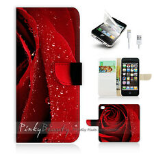 ( For iPhone 5 / 5S / SE ) Wallet Case Cover! Beautiful Red Rose Flower P0266