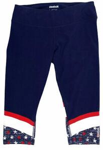 REEBOK USA Flag Print Capri Cropped Leggings Yoga Workout Gym Pants Blue Sz L