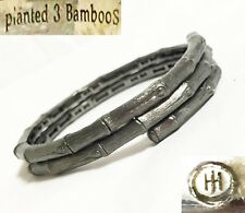 $650 John Hardy XS Pianted 3 Bamboos Brushed Silver Double Coil Bangle Bracelet