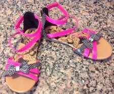 Disney Minnie Mouse Sandals Sz 4.5 Youth Gladiator Shoes Polka Dot Pink Bow
