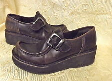 AMERICA EAGLE-BROWN DISTRESSED Wedge Platform  Slip-on LEATHER Shoes Size 7 (m)