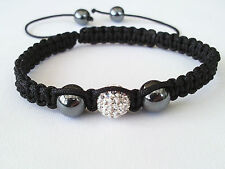 Shamballa Bracelet White Crystal Disco Ball  Adjustable High Quality SB11