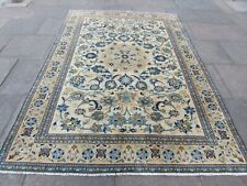 Vintage Hand Made Traditional Oriental Wool White Green Large Carpet 283x194cm