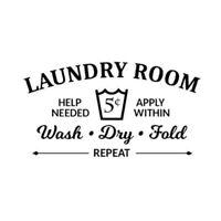 Laundry Room Rules Wash Dry Fold Vinyl Wall Sticker Decor Decal Bathroom Z4O 9N8