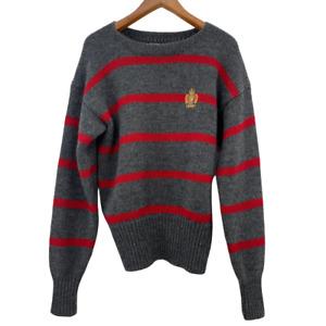 Polo Ralph Lauren Mens Pullover Wool Sweater Crest Vintage Striped Size Medium