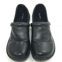 Thom McAn Footwear Black Leather Women's Slip On Shoes #40232 Size 9 Wide