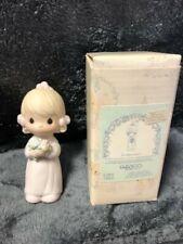 1983 Precious Moments Wedding Junior Bridesmaid Girl Pastel Flowers Figurine