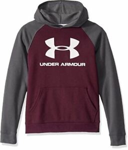 UNDER ARMOUR COLD GEAR YOUTH LOGO HOODIE - GREY / PURPLE Large L NEW - A4