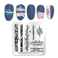 BORN PRETTY Flower Tango Theme Square Nail Stamping Plates Roses Flowers Nail Ar