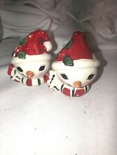 vintage Howard Holt Snowman Figurine ,Salt Pepper Shakers Heads