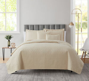 5 Piece Bedspread Coverlet Quilt Set Ultra Soft Lightweight Grid Weave Design