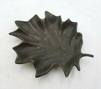 Vintage Bassick Sack 8520 Brass Maple Leaf Plate Trinket Nut Dish Ashtray Footed