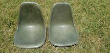 2 Eames Herman Miller Green mid century modern fiberglass shell chairs