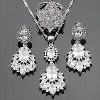 Beautiful white Topaz CZ 925 Silver Necklace Pendant Earrings Ring Set