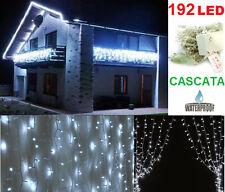 Cascata Pioggia Tenda LED uso esterno bianco neve.Natale,luci ringhiera balcone