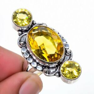 Aaa+++ Citrine Gemstone 925 Sterling Silver Jewelry Ring s.9 W2463