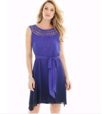 Soma Womens Chiffon Overlay Dress Size Medium Serene Ombre Royal