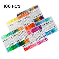 100 Farbe Pinselstifte Aquarell Stifte Doppelspitze Kalligraphie Handlettering、