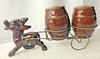 Donkey pulling wire Cart with Barrel Salt Pepper Shakers Mid century~cute~