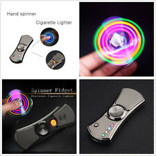 Fashion Fidget Spinner Cigarette Lighter LED Flash Light USB Charging w/Box Gift