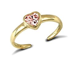 9Ct Yellow Gold Solid Pink Cz Heart Toe Ring Erin Rose Jewellery Co