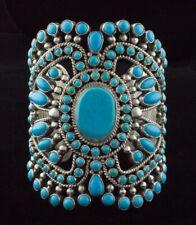 Natural Sleeping Beauty & Kingman Turquoise Petit Point Cluster Bracelet