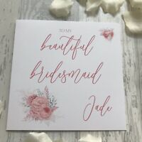 Personalised Thank you Bridesmaid Maid of Honour Pink Silver Floral Wedding Card