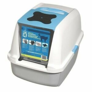 Catit Hooded Cat Litter large Easy Scoop,Cat flap Style, blue & white 22 x15 x18