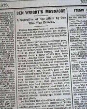 MODOCS INDIANS Lava Beds War Ben Wright Massacre 1873 San Francisco CA Newspaper