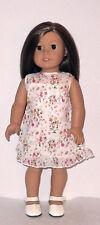 "Beige Floral Print Dress  Fits 18"" American Girl  Dolls"