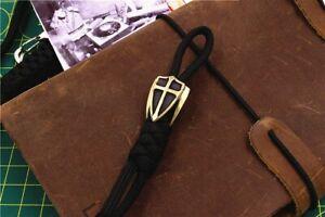 BRASS WHITE BRASS 3-Sided SHIELD Paracord Bead Knife Bead Pendant Lanyard Bead