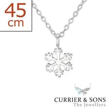 925 Sterling Silver Snowflake Pendant Necklace (45cm / 18 inch)