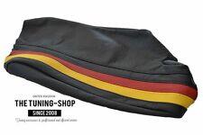 FOR BMW E90 E91 E92 E93 ARMREST COVER BLACK LEATHER GERMAN FLAG COLOURS STRIPES